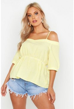 Yellow Plus Gingham Check Cold Shoulder Top
