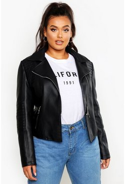 Black Plus Leather Look Quilted Biker Jacket