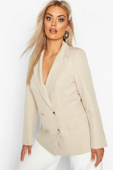 Stone beige Plus Double Breasted Military Blazer