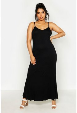 Black Plus Basic Swing Maxi Dress