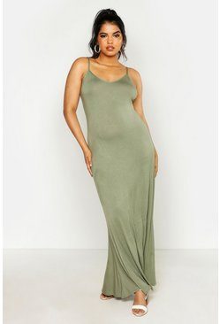 Khaki Plus Basic Swing Maxi Dress