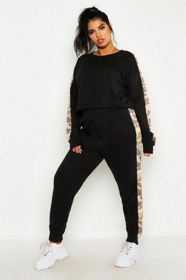 Black Plus Camo Side Stripe Loungewear Set
