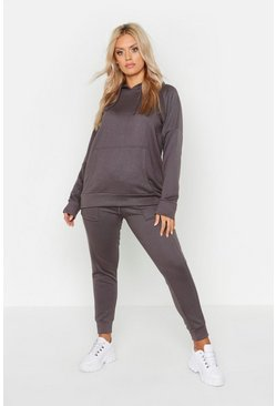 Charcoal grey Plus Hoody Tracksuit