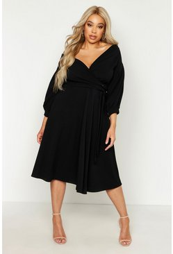 Black Plus Off Shoulder Wrap Midi Dress