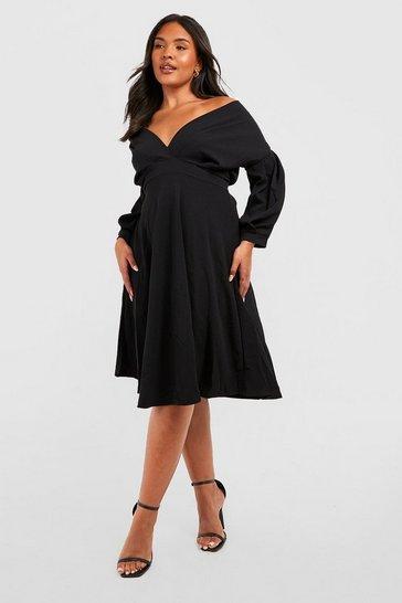 Black Plus Off Shoulder Wrap Midi Dress