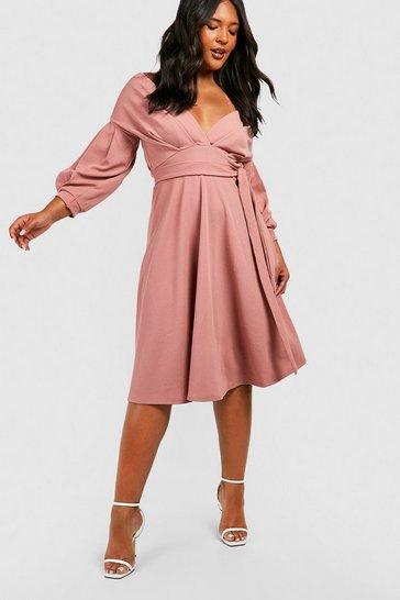 Blush pink Plus Off Shoulder Wrap Midi Dress