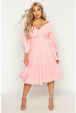 Coral blush pink Plus Off Shoulder Wrap Midi Dress