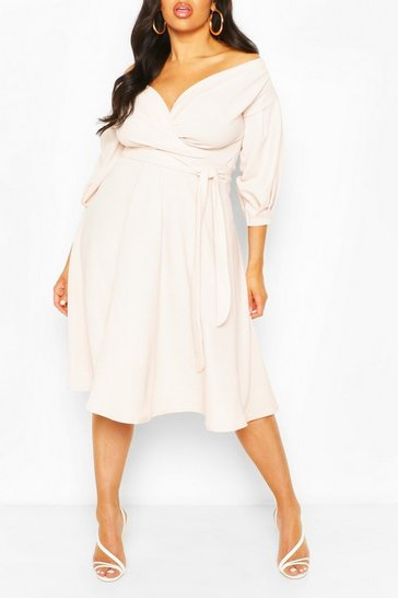 Stone beige Plus Off Shoulder Wrap Midi Dress