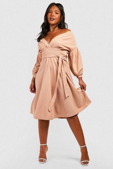 Stone beige Plus Off Shoulder Wrap Midi Dress