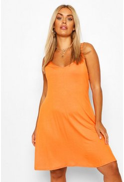 Orange Plus Basic Swing Dress