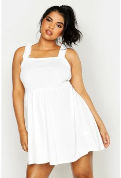 Ivory white Plus Ruffle Strap Square Neck Sundress
