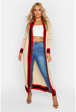 Camel beige Plus Stripe Maxi Length Cardigan