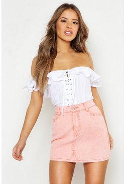 White Petite Cotton Feel Lace Up Off The Shoulder Top