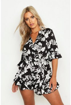 Black Plus Floral Print Ruffle Tie Playsuit