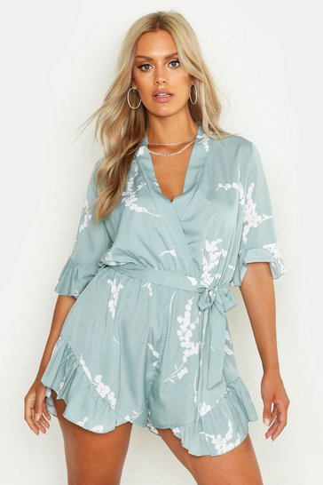 Sage Plus Abstract Floral Print Ruffle Tie Playsuit