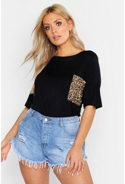 Black Plus Leopard Print Pocket T-Shirt