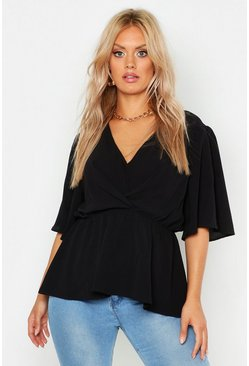 Black Plus Angel Sleeve Peplum Blouse