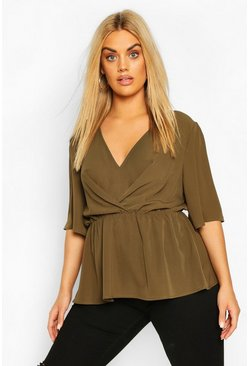 Khaki Plus Angel Sleeve Peplum Blouse