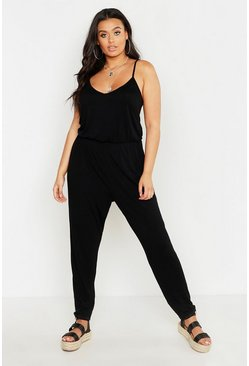 Black Plus Basic Cami Jumpsuit