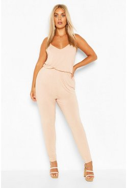 Blush pink Plus Basic Cami Jumpsuit