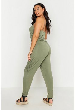 Khaki Plus Basic Cami Jumpsuit