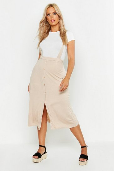Stone beige Plus Jersey Button Through Midi Pinafore Skirt