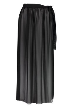 Black Petite Chiffon Beach Wrap Maxi Skirt