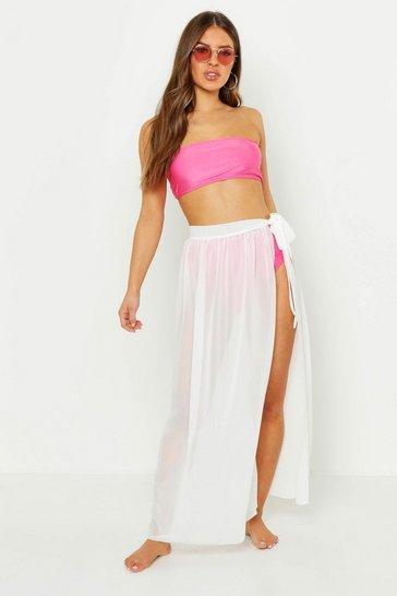 White Petite Chiffon Beach Wrap Maxi Skirt