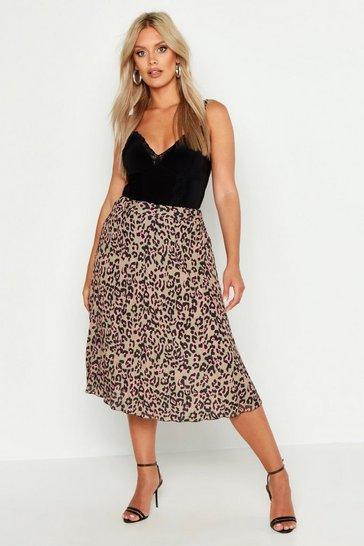 Brown Plus Leopard Print Pleated Midi Skirt