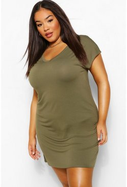 Khaki Plus Basic V Neck Key Hole Detail T-Shirt Dress
