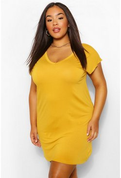 Mustard Plus Basic V Neck Key Hole Detail T-Shirt Dress