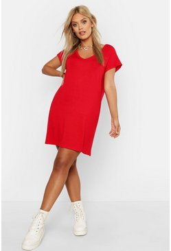 Red Plus Basic V Neck Key Hole Detail T-Shirt Dress