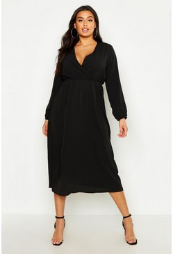 Black Plus Wrap Midi Dress