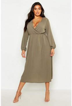 Sage Plus Wrap Midi Dress