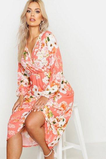 Coral pink Plus Floral Midi Dress