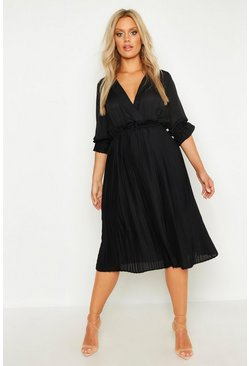 Black Plus Ruffle Detail Pleated Midi Dress