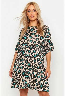 Cream white Plus Leopard Print Smock Dress