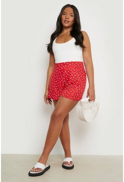 Red Plus Ditsy Floral Flippy Shorts