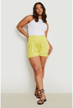 Yellow Plus Ditsy Floral Flippy Shorts