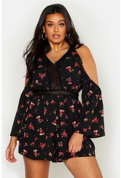 Black Plus Polka Dot Ditsy Floral Crochet Insert Playsuit