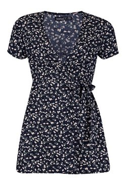 Black Petite Ditsy Floral Print Woven Wrap Dress