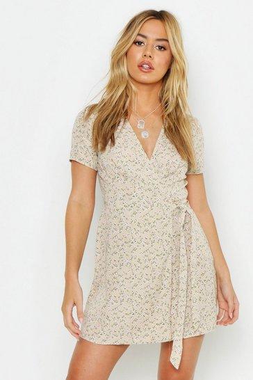 Pistachio beige Petite Ditsy Floral Print Woven Wrap Dress
