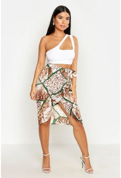 Natural Petite Mixed Animal Print Midi Skirt