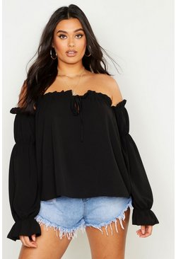 Black Plus Off The Shoulder Gypsy Top