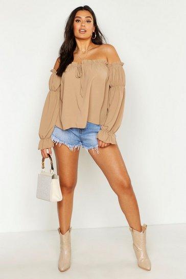 Camel beige Plus Off The Shoulder Gypsy Top