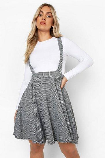 Black Plus Dogtooth Check Pinafore Skirt