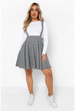 Black Plus Dogtooth Check Pinafore Skirt
