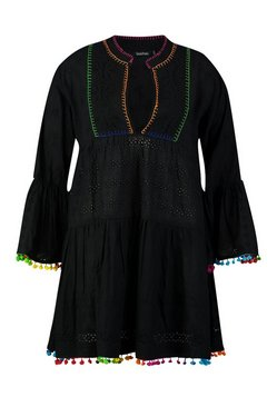 Black Plus Broderie Anglaise Boho Smock Dress