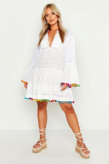 White Plus Broderie Anglaise Boho Smock Dress