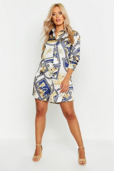 Navy Plus Chain Printed Satin Shirt Dress